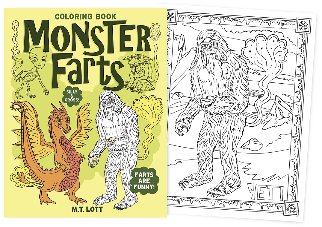 Cover Of Monster Farts Coloring Book And Picture Farting Yeti